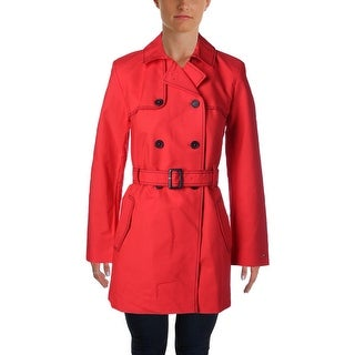 Tommy Hilfiger Womens Trench Coat Contrast Stitch Single Vent