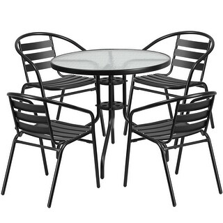 Skovde Round 31.5'' Glass Metal Table w/4 Black Metal Aluminum Slat Stack Chairs for Restaurant/Bar/Pub/Patio