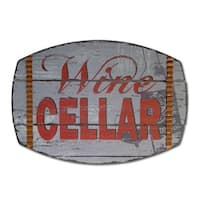 """Pack of 2 Wood with Tin Accents Wine Cellar Plaques 31"""" - Red"""