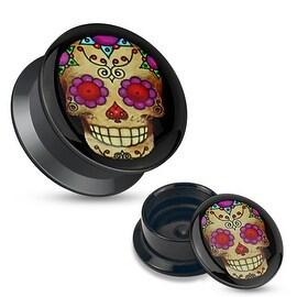 Violet Sugar Skull Black Acrylic Stash Screw Fit Plug (Sold Individually)