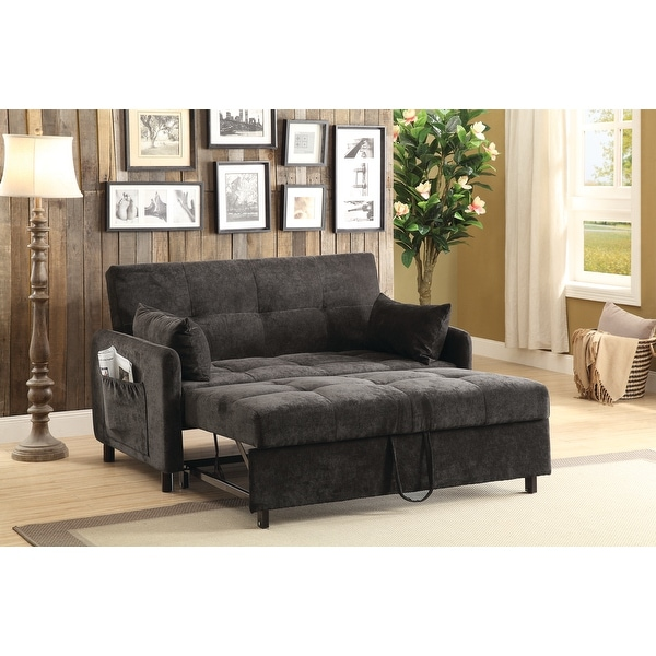 """Transitional Charcoal Fabric Sofa Bed - 60"""" x 36.25"""" x 35.50"""" - 60"""" x 36.25"""" x 35.50"""". Opens flyout."""