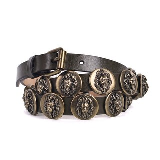 Roberto Cavalli Green Leather Lion Emblem Skinny Belts
