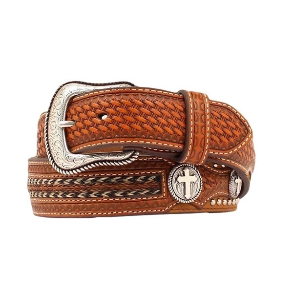 Nocona Western Belt Mens Leather Cross Concho Overlay Copper