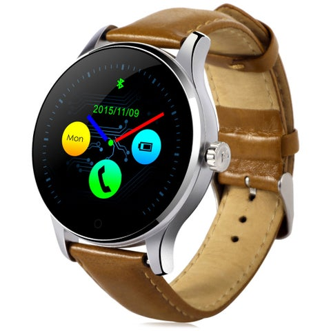 K88H MTK2502 Bluetooth Smart Watch Heart Rate Track Wristwatch Brown Wristband
