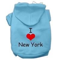 I Love New York Screen Print Pet Hoodies Baby Blue Size XXL (18)