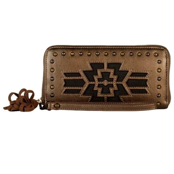 "Catchfly Western Wallet Womens Portia Studs Aged Bronze Brown - 7 1/2"" x 1"" x 3 3/4"""