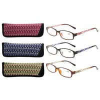 Eyekepper Readers 3 Pack of Womens Reading Glasses With Beautiful Pattern And Soft Case For Ladies +2.00