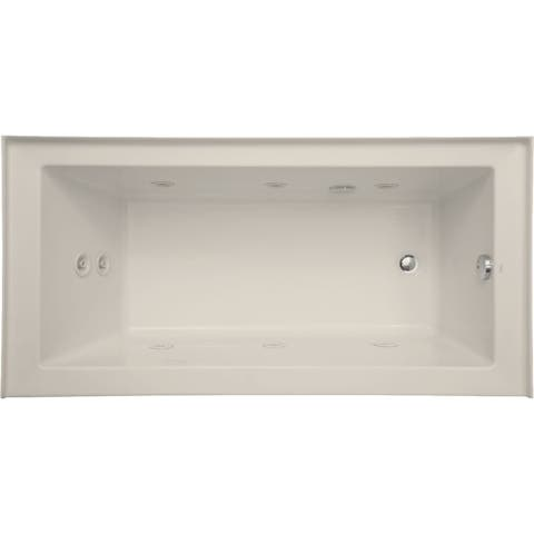 "Mirabelle MIRSKW6030R Sitka 60"" X 30"" Acrylic Whirlpool Bathtub for Three Wall Alcove Installations with Left Pump and Right"