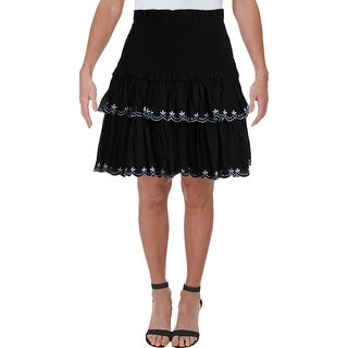 Aqua Womens Skirt Smocked Ruffled - Black/White