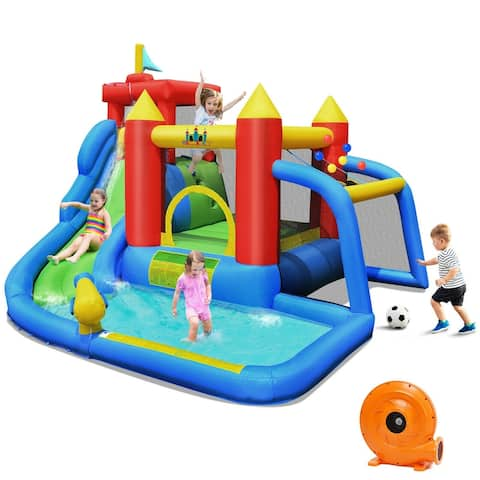 Inflatable Bounce House Splash Pool with Water Climb Slide Blower included - Multi - 11.4 ft (L) x 10.3 ft (D) x 8 ft (H)