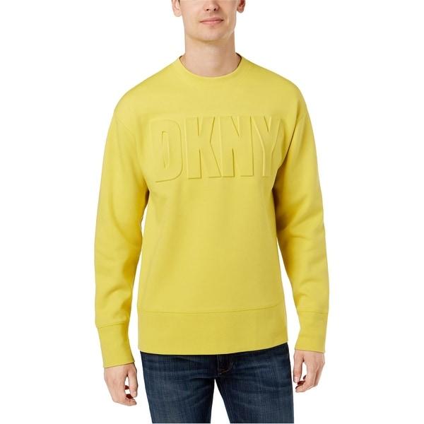 DKNY Mens Raised Logo Sweatshirt, Yellow, XX-Large. Opens flyout.