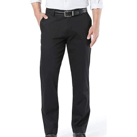 Dockers Mens Signature Khaki Pants Black Size 38x30 Straight Fit Stretch
