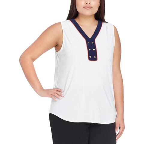 Tahari ASL Womens Plus Tank Top Button-Detail Sleeveless
