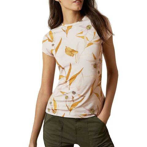 Ted Baker Womens Pastel Pink Juliay Cabana Jersey Fitted Tee Floral Print T Shirt