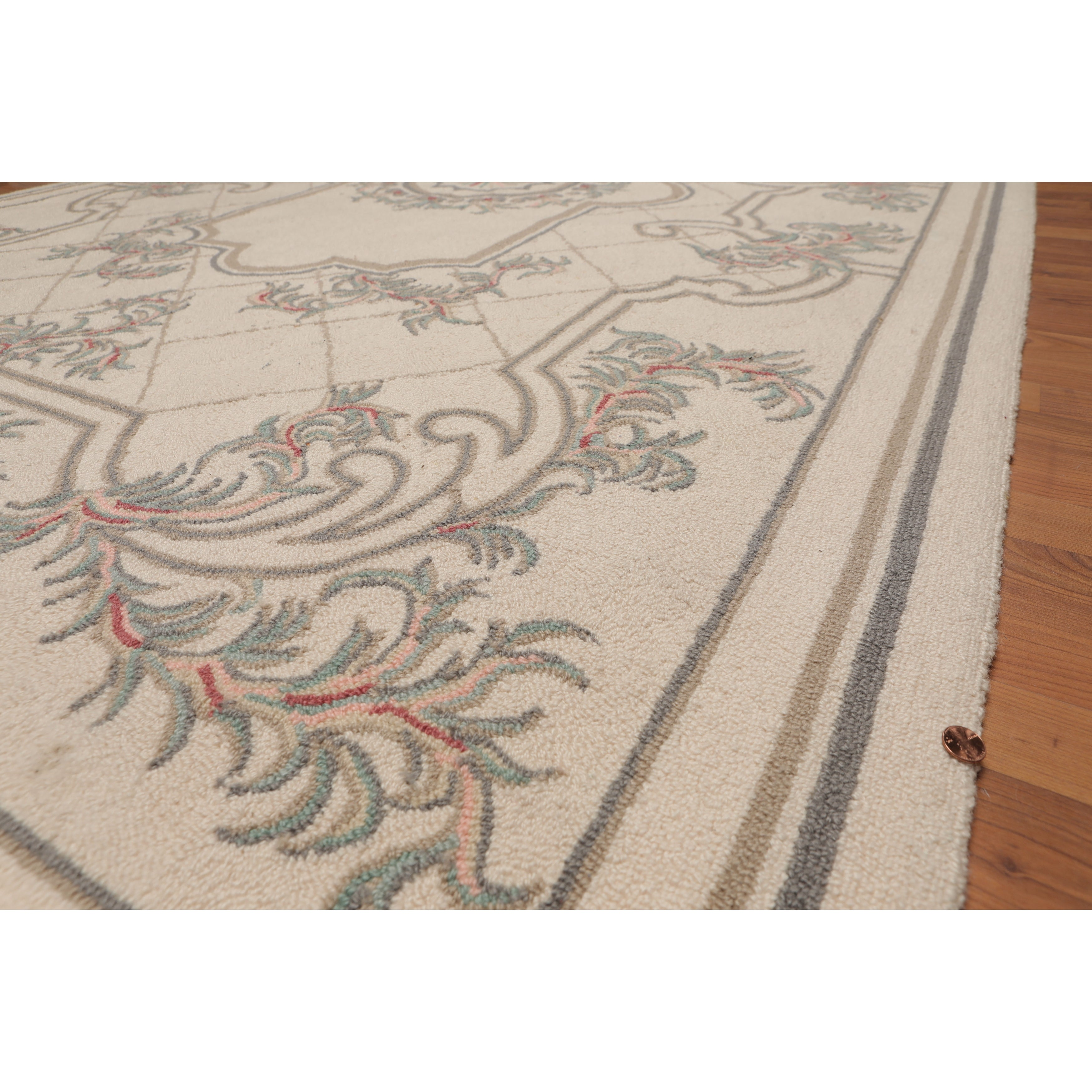 Hand Hooked Medallion Classic Design Beige Grey Oriental Area Rug Wool Traditional Oriental Area Rug 5x7 5 X 8 On Sale Overstock 31305003