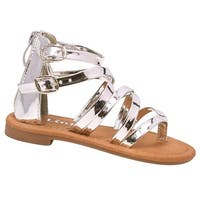 Girls Silver Patent Thong Strap Buckle Zipper Back Trendy Sandals