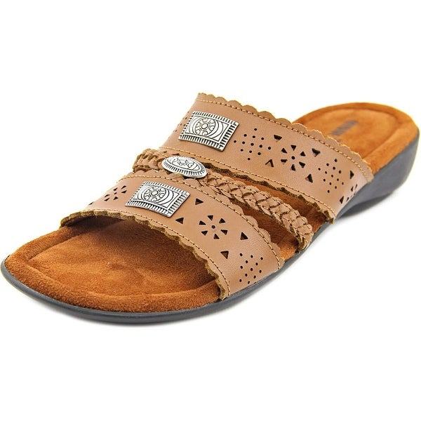 Minnetonka Gayle Women WW Open Toe Leather Brown Slides Sandal