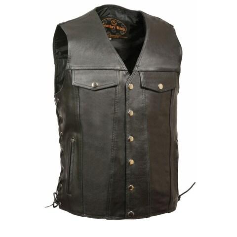 Mens Denim Style Pocket Side Lace Vest