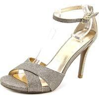Material Girl Saracha Women  Peep-Toe Canvas Gold Heels