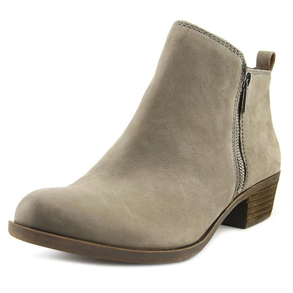 Lucky Brand Basel Women Round Toe Leather Gray Ankle Boot