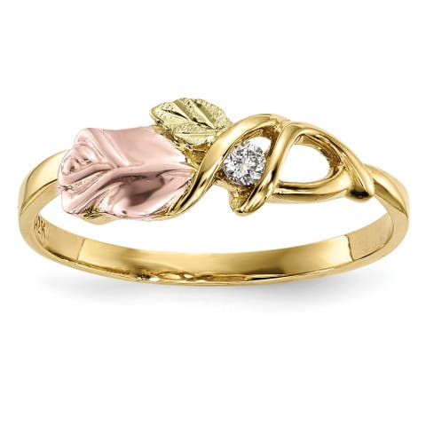 10K Yellow Gold 12K Rose and Green Accent High Polished Black Hills Diamond Ring