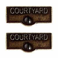 2 Switch Plate Tags COURTYARD Name Signs Labels Cast Brass | Renovator's Supply
