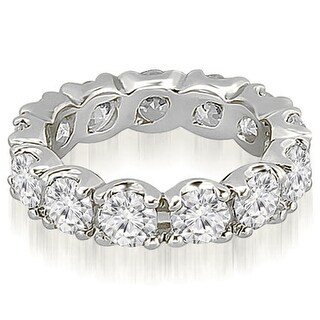 14K White Gold 4.80 ct.tw Round Cut Fishtail Diamond Eternity Wedding Ring HI, SI1-2