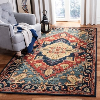 Safavieh Handmade Heritage Traditional Oriental Red/Navy Wool Rug