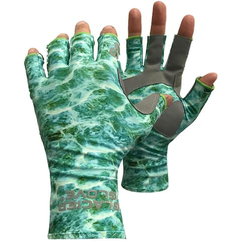 Glacier Glove Islamorada Fingerless Sun Gloves - Green Water Camo