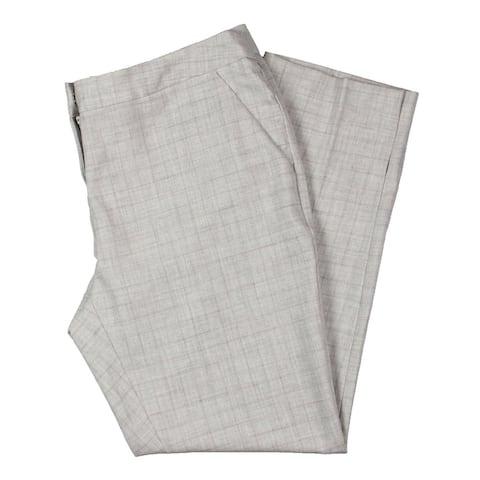 Amanda + Chelsea Womens Capri Pants Plaid Split Hem - Grey - 8