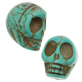 Turquoise Magnesite (Dyed)  Gemstone Beads Carved Skulls 14x18mm (10)