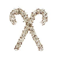 """25"""" Lighted Champagne Gold Glittered Rattan Double Candy Cane Christmas Outdoor or Window Decoration"""