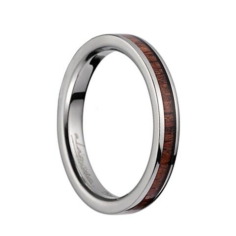 Titanium Wedding Ring With Pink Ivory Inlay & Polished Edges - 3mm