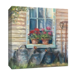 "PTM Images 9-153198  PTM Canvas Collection 12"" x 12"" - ""Window with Geraniums"" Giclee Flowers Art Print on Canvas"