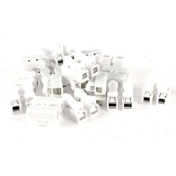 Unique Bargains 20 Pieces White LED Wiring Terminal Crimp Connector Wire 2Pins Binding Post 380V