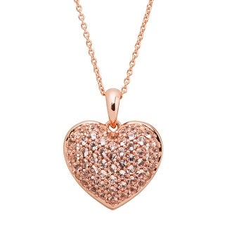 7/8 ct Simulated Morganite Puffed Heart Pendant in 14K Rose Gold-Plated Sterling Silver - Pink