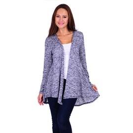 Simply Ravishing Women's 2-Tone Knit Hacci Long Open Cardigan