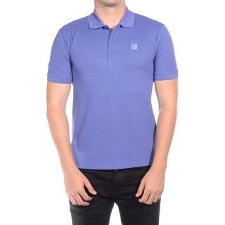 Versace Collection Men's Cotton Medusa Logo Polo Shirt Purple