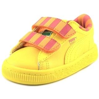 Puma Sesame Str Basket BB Mono V Toddler Round Toe Leather Yellow Sneakers