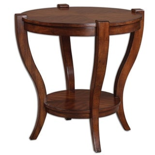 """30"""" Carmody Antiqued Pecan Cherry Veneer & Carved Wood Round Accent Side Table"""