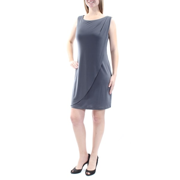e29bc4799d576 Womens Gray Sleeveless Above The Knee Tulip Cocktail Dress Size: 6