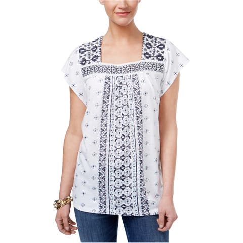 Style&co. Womens Mixed-Print Bib Pullover Blouse, white, Medium