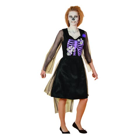 Black and Purple Skeleton Bride Adult Women's Dress Halloween Costume - Small