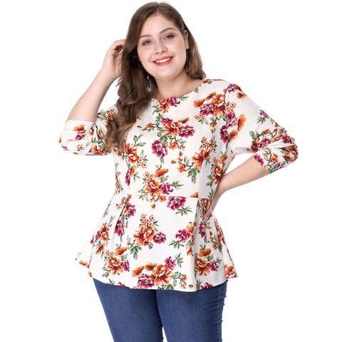 Women's Plus Size Crew Neck Long Sleeves Floral Print Peplum Top