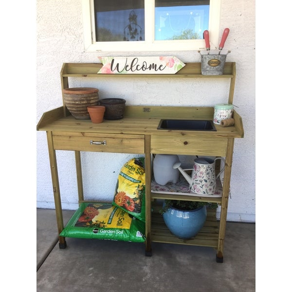 Shop Convenience Concepts Deluxe Orang/Brown Wood Potting Bench   Free  Shipping Today   Overstock.com   11878078