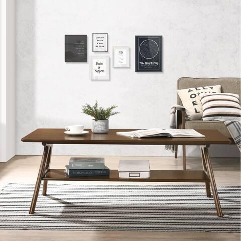 Arona Mid-Century Modern Wood Coffee Table with Shelf