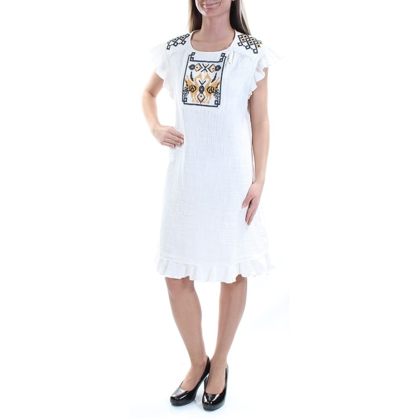 7fb1c506771ec6 Shop MAX STUDIO Womens Ivory Embroidered Textured Cap Sleeve Jewel Neck  Knee Length Shift Dress Size  XS - On Sale - Free Shipping On Orders Over   45 ...
