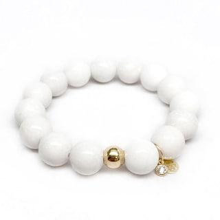 """White Jade Lauren 7"""" Bracelet"""