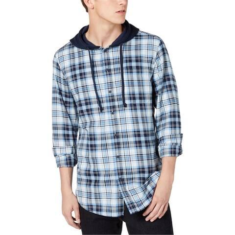 American Rag Mens Plaid Hooded Button Up Shirt