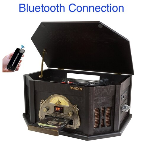 8-in-1 Boytone BT-25BK with Bluetooth Connection Natural wood Classic Turntable Stereo System, Vinyl Record Player, AM/FM, CD
